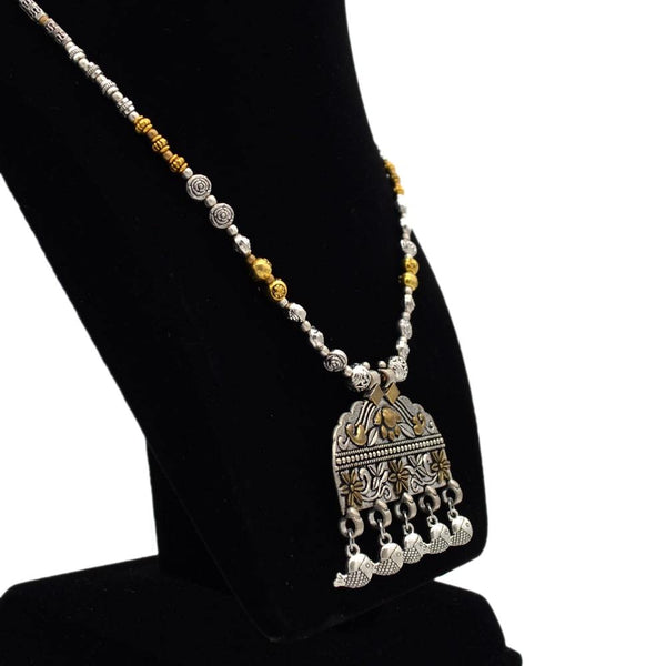 Oxidised Silver-Golden Plated Traditional Tribal Necklace