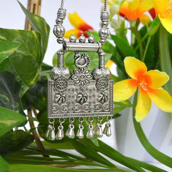 Oxidised Silver Antique Boho Beaded Chain Pendant Necklace Jewellery For Women and Girls