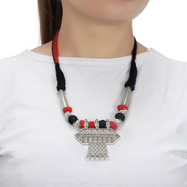 Oxidized Silver Plated Floral Stone Studded Afghani Tribal Necklace Set