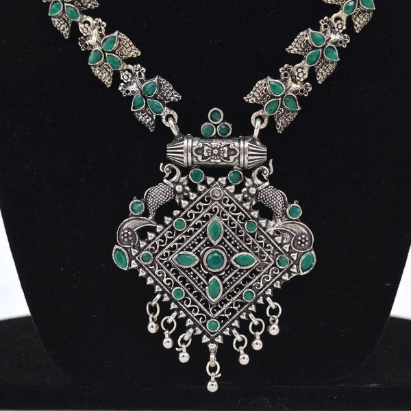 Oxidized Silver Green Necklace Set