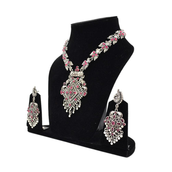 Oxidized Silver Pink Necklace Set