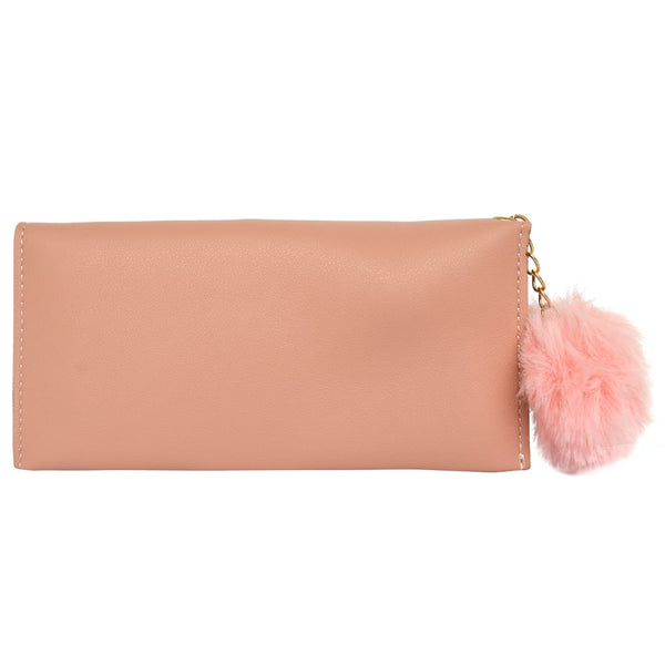 Peach  Embroidered Leather Women's Wallet