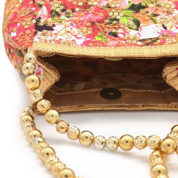 Pink & Gold-Toned Embellished Clutch