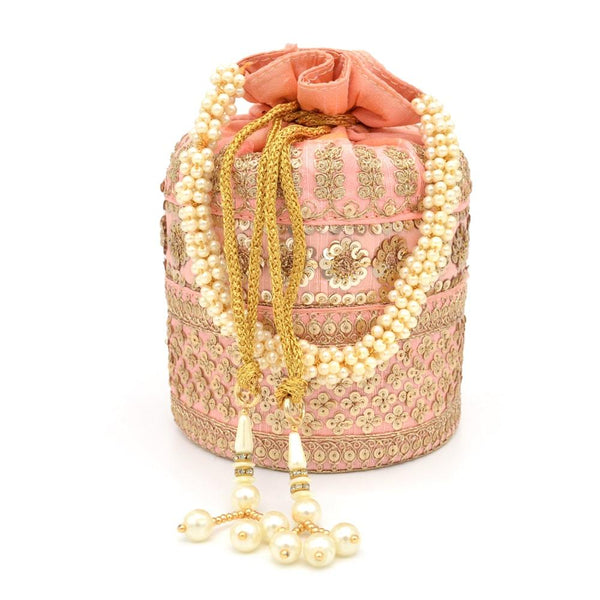 Pink & Gold-Toned Embellished Tasselled Potli Clutch With Pearl String