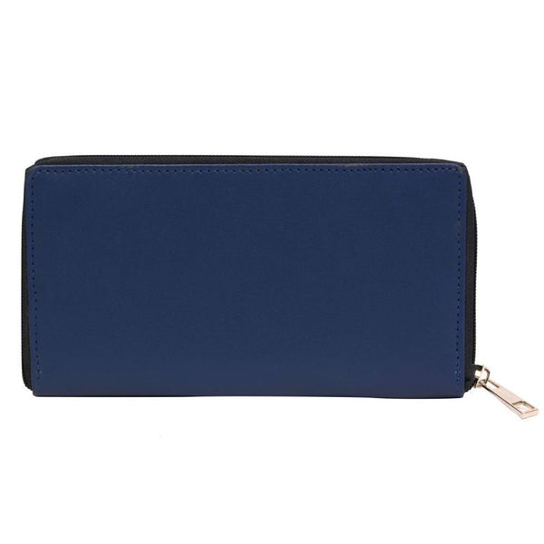 Pink Potato Blue Leather Solid Wallet for Women and Girls