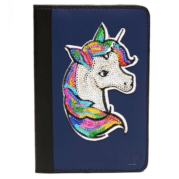 Pink Potato Blue Sequinned Unicorn Unisex Passport Holder