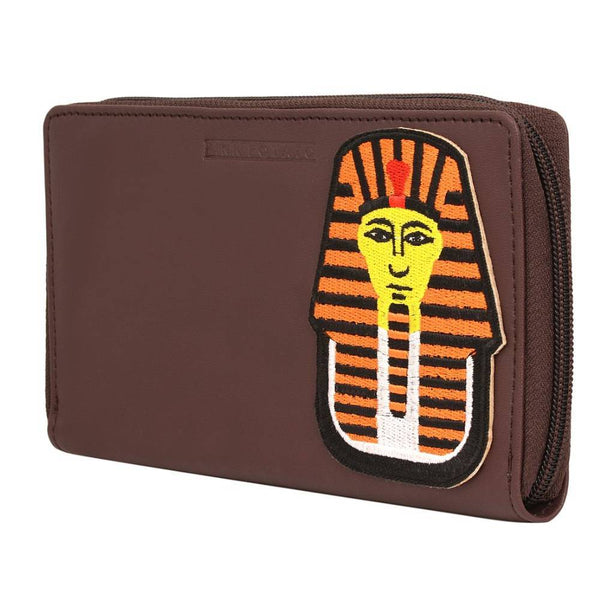 Brown Solid Leather Wallet for Women and Girls