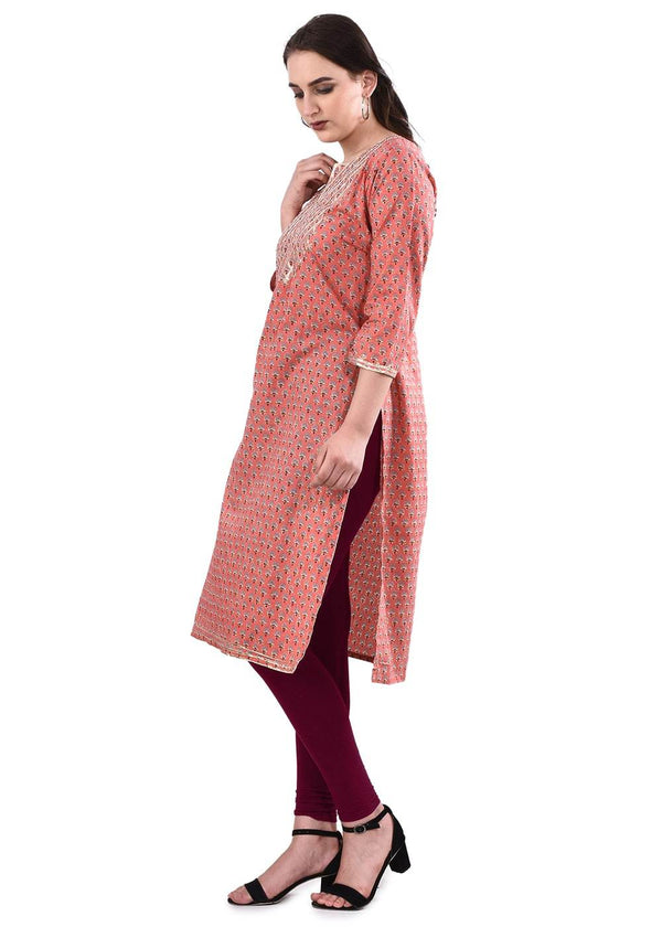Pink Printed Straight Kurta with Gotta Patti Embroidery