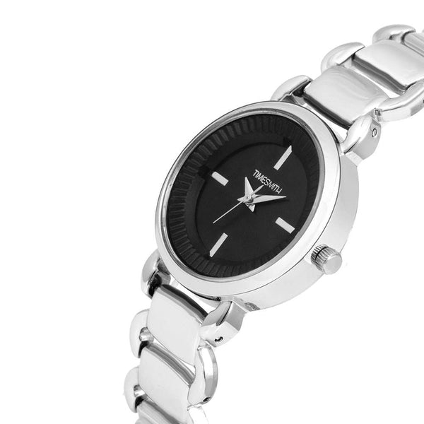 Premium Analog Black Dial Silver Stainless Steel Watch for Women