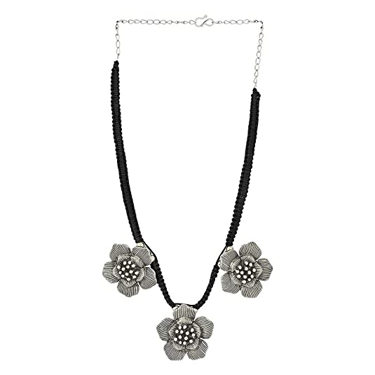 Oxidized Floral Design Tasseled Tribal Handcrafted Necklace