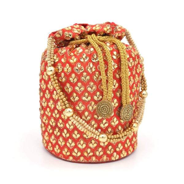 Red & Gold-Toned Embroidered Potli Clutch With Pearl String