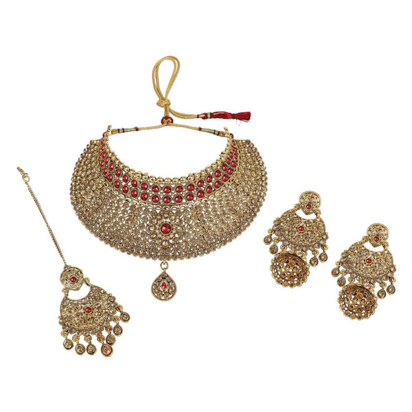 Red & Gold-Toned Kundan Studded & Beaded Handcrafted Jewellery Set