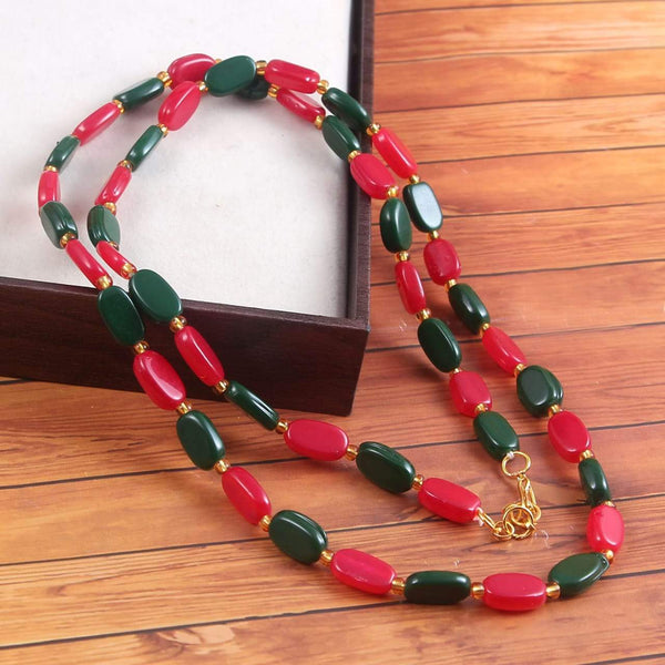Red & Green Beaded Handcrafted Necklace