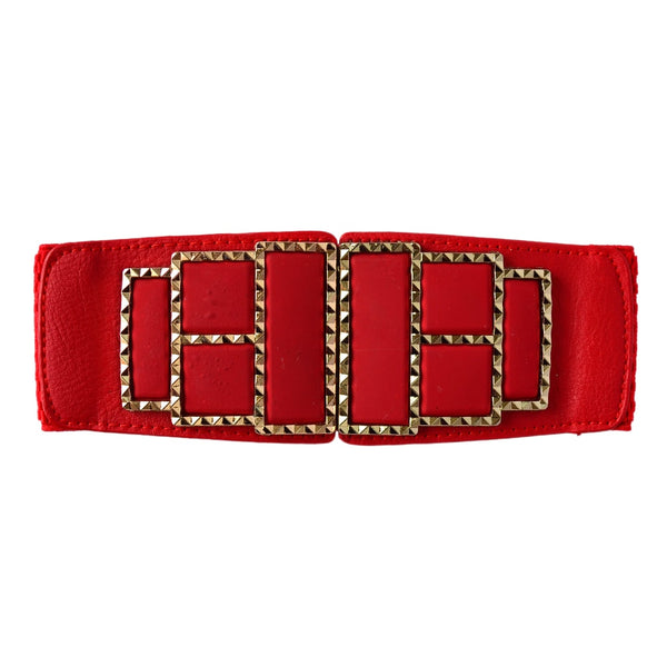 Red Synthetic Leather Women's Belt