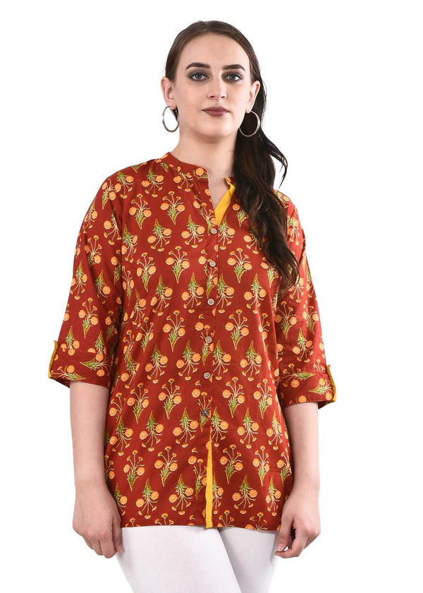 Red & Yellow Printed Tunic Kurti