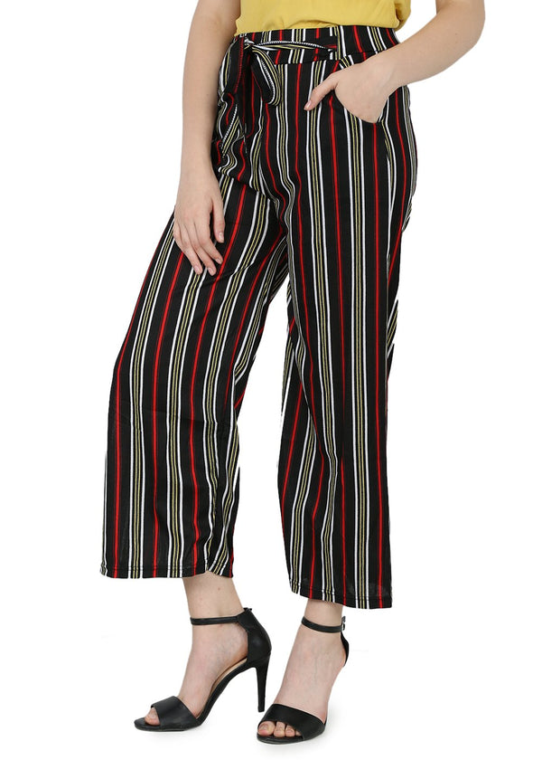 Regular Black & Yellow Womens Trouser - Stripes