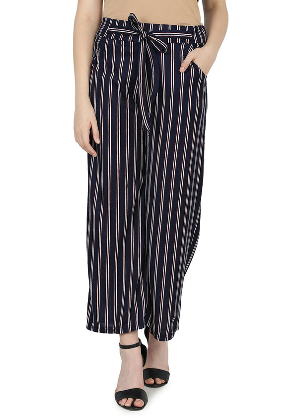 Regular Fit Blue Women Trouser-Stripes