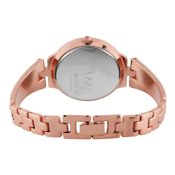 Gold Dial and Rose Gold Stainless Steel Strap Watch  for Women
