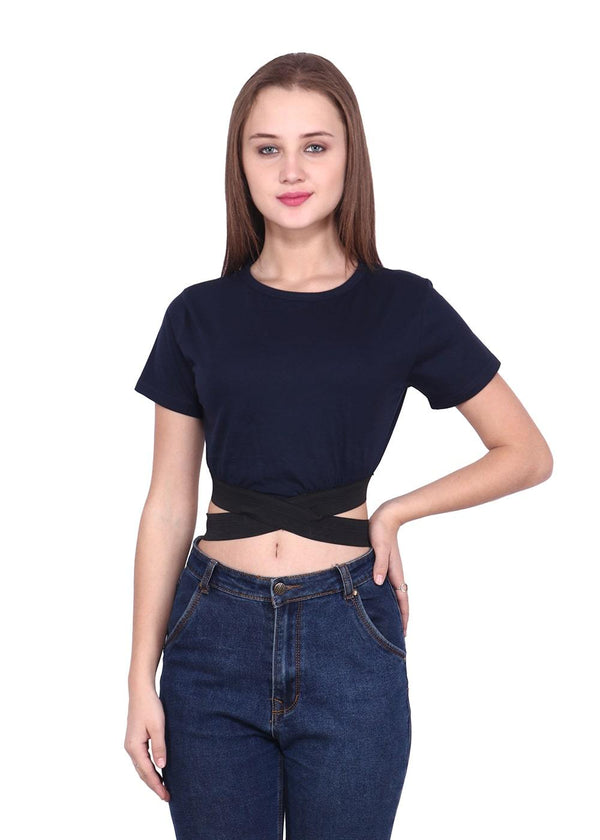Round Neck Navy Crop Top