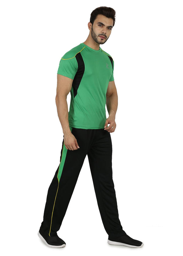 Slim Fit Round Neck TriFit Polyester T-Shirt for Men - Green
