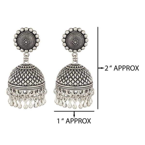 Stylish Big Silver-Plated Oxidised Jhumki Earring For Women