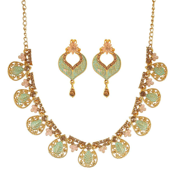 Sea Green Gold-Plated Enamelled Handcrafted Jewellery Set
