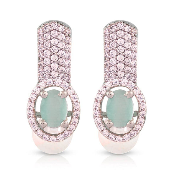 Sea Green Rose Gold-Plated American Diamond Studded Pearl Earrings