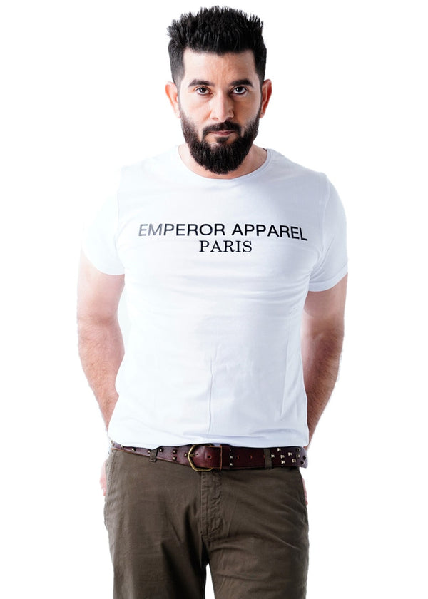 White Crew Neck Short Sleeves T-Shirt for Men - Emperor