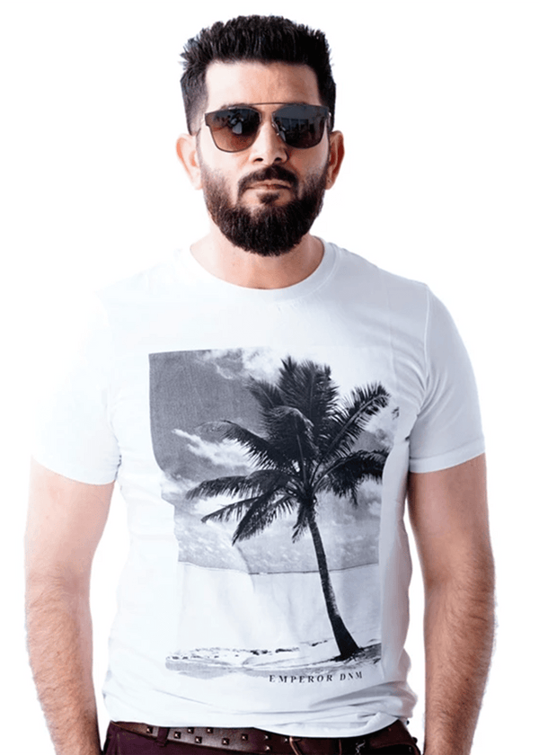 Mens White Short Sleeve Crew Neck Printed T-Shirt - Emperor