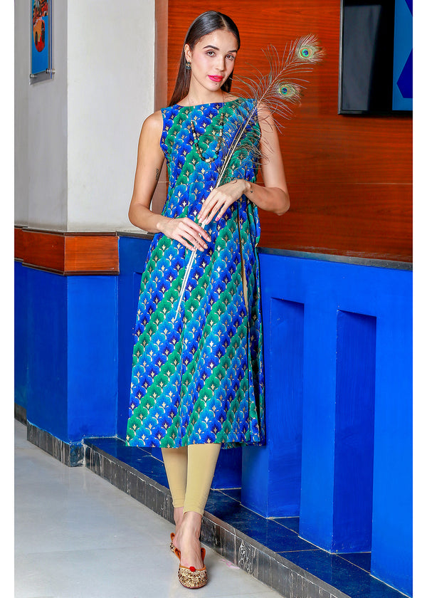 Silk-Touch Peacock Coloured Kurti with Smart Side Cut