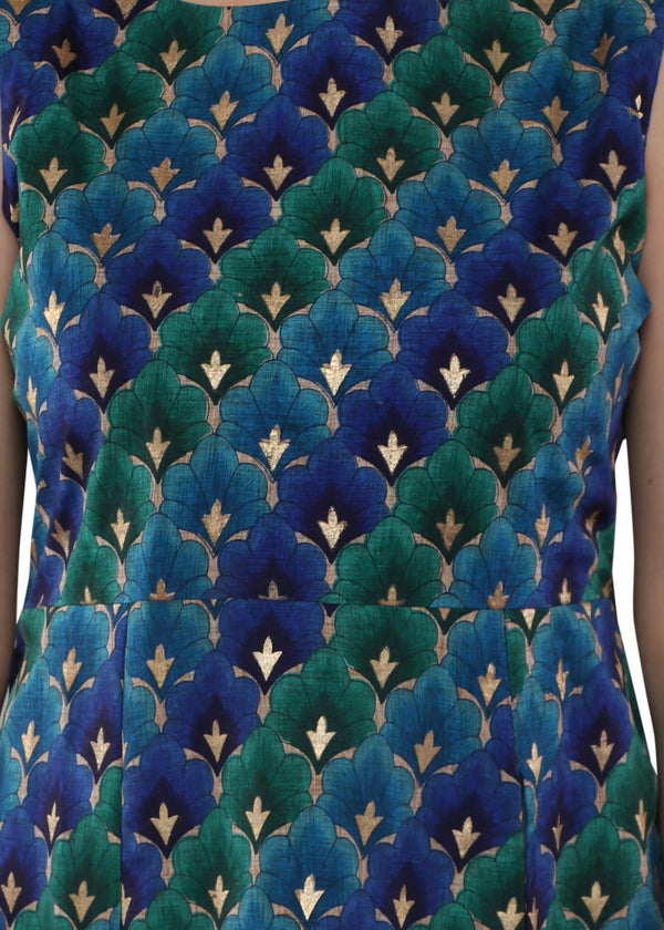 Silk touch Peacock Coloured Kurti with Smart Side Cut