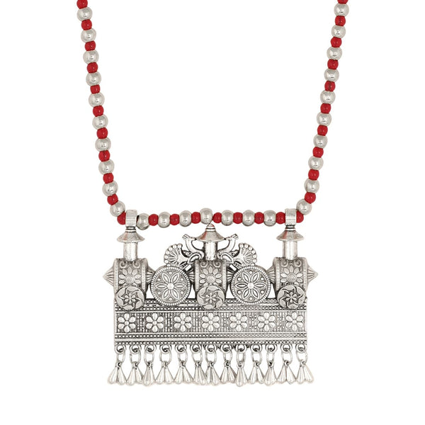 Silver And Red Jewellery Necklace Set For Women