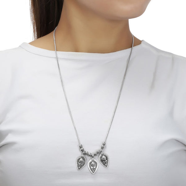 Silver Oxidized Leaves Luxury Afghan Tribal Necklace Set for Women