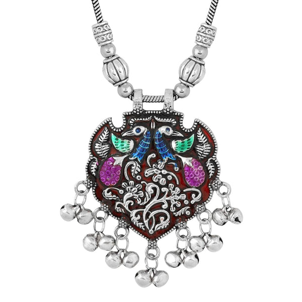Silver Plated Oxidized Tribal Jewellery Necklace Set For Women