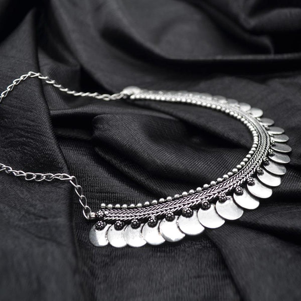 Silver Coloured Oxidised Tribal Handcrafted Necklace