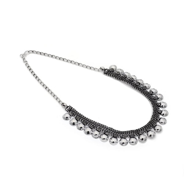 Silver Coloured Oxidised Tribal Handcrafted Necklace For Women