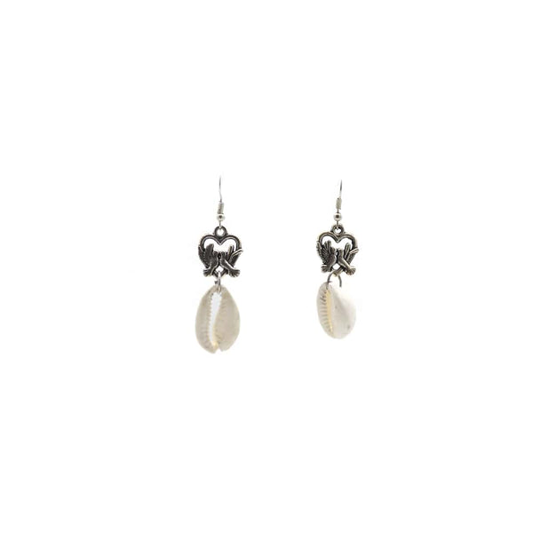 Silver Earring with Small Conch drop