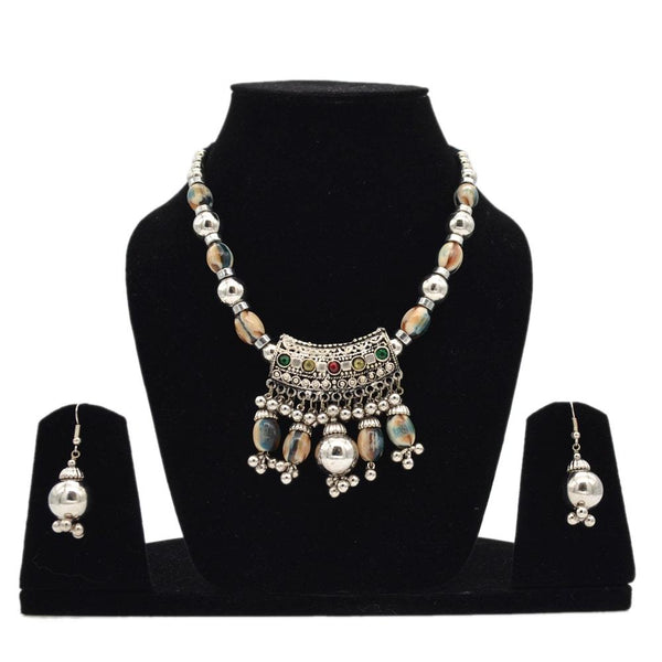 Silver Oxidised Multicolour Beaded Necklace- Set