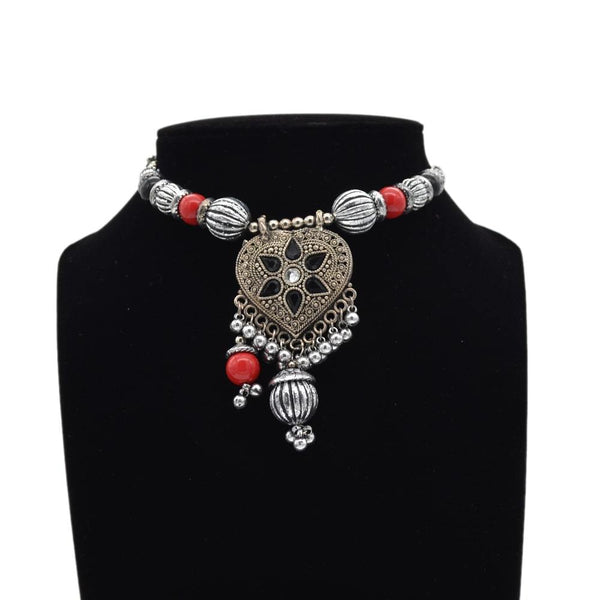 Silver Oxidised with Red Beads Necklace