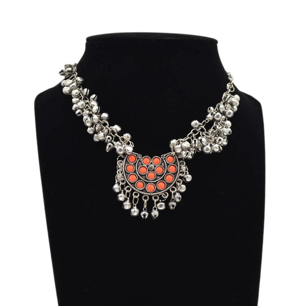 Silver and Orange Necklace