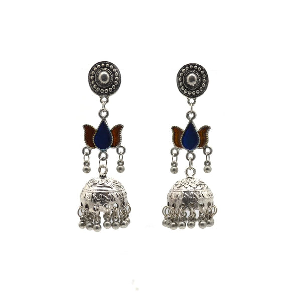 Silver and navy blue motif  Earring