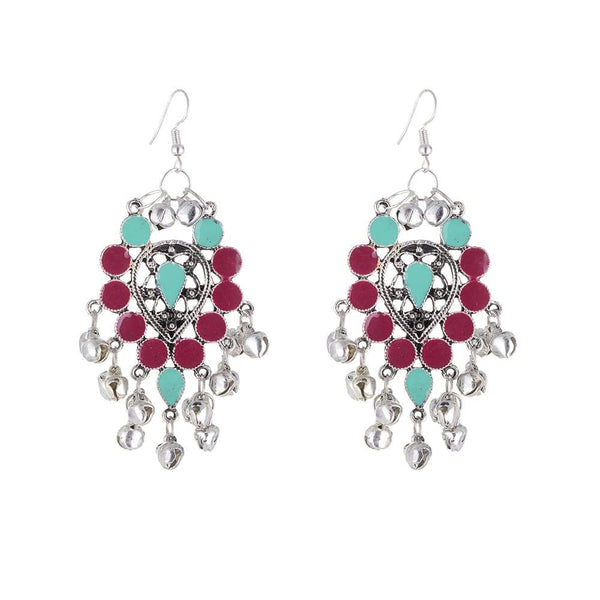 Silver with Green and Red Earring
