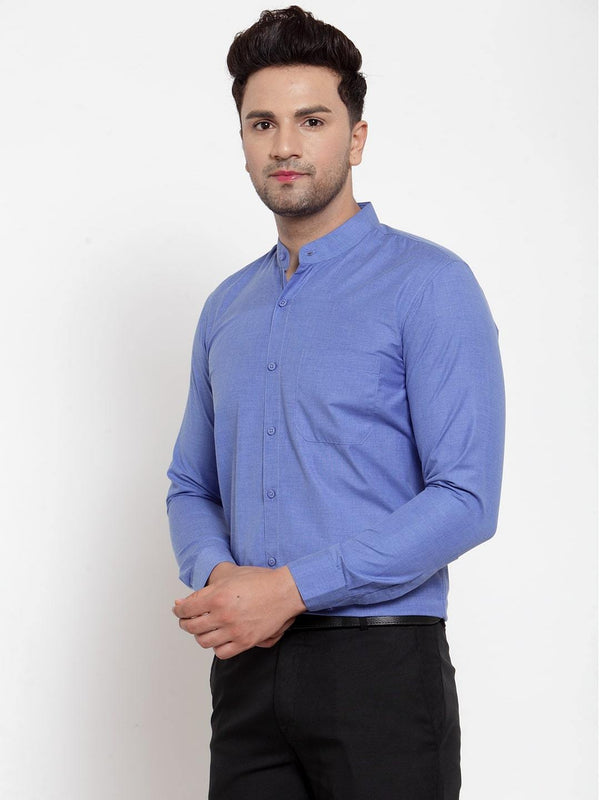 Sky Blue Solid Regular Men Shirt