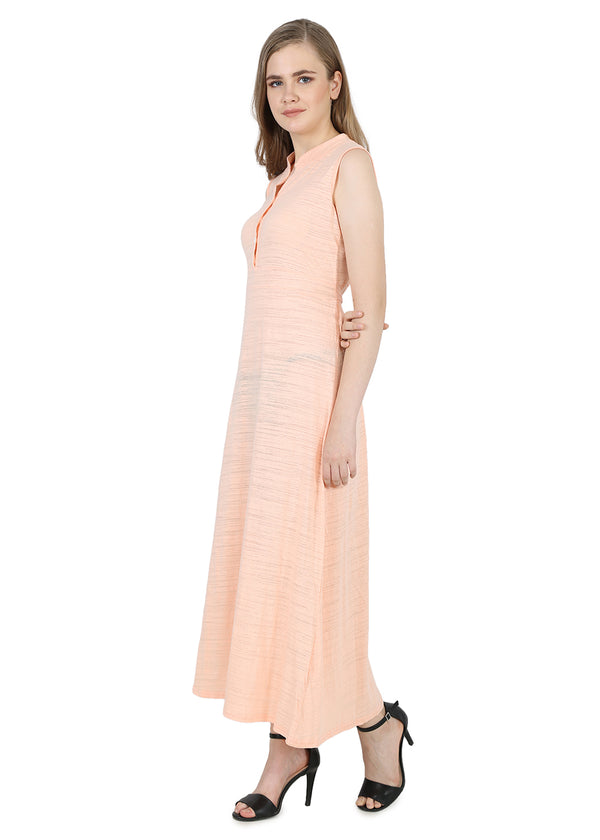 Sleeveless Women Long Dress in Solid Pattern- Peach