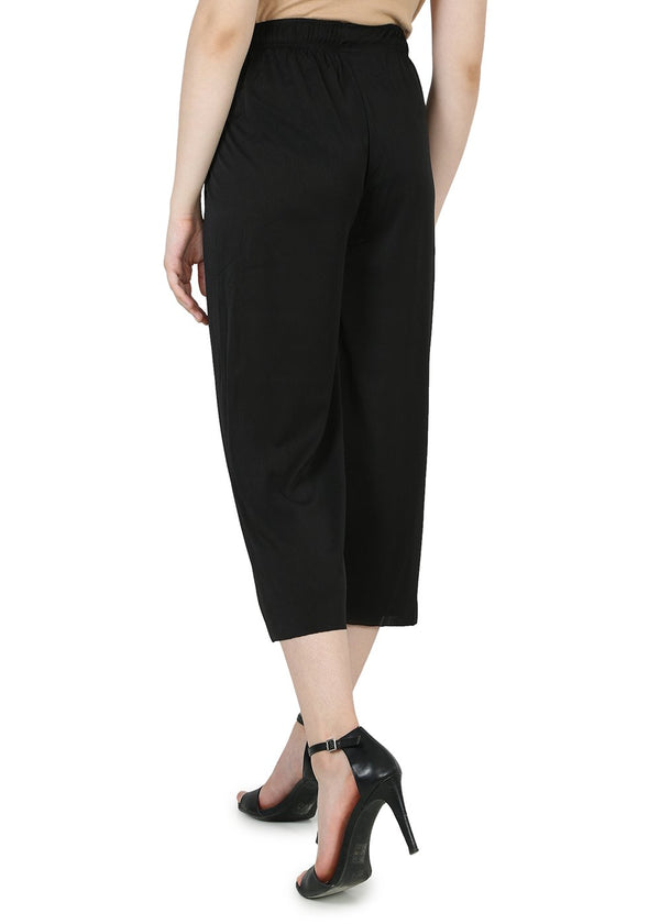 Regular Black Womens Trouser - Cotton & Polyester