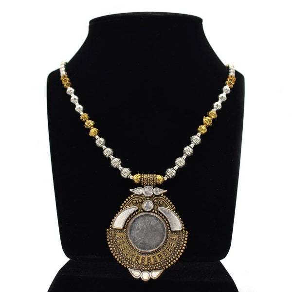 Stylish Golden & Silver Statement Necklace