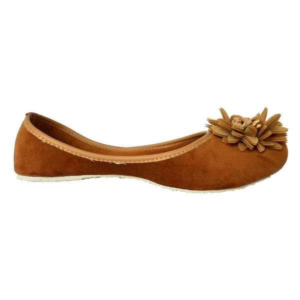 Synthetic Leather Brown Mojaris for Women