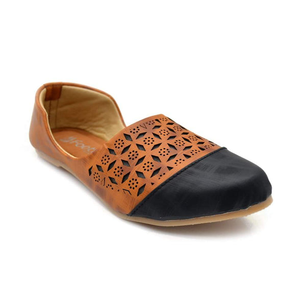 Tan & Black Cut-out comfort Men Juttis