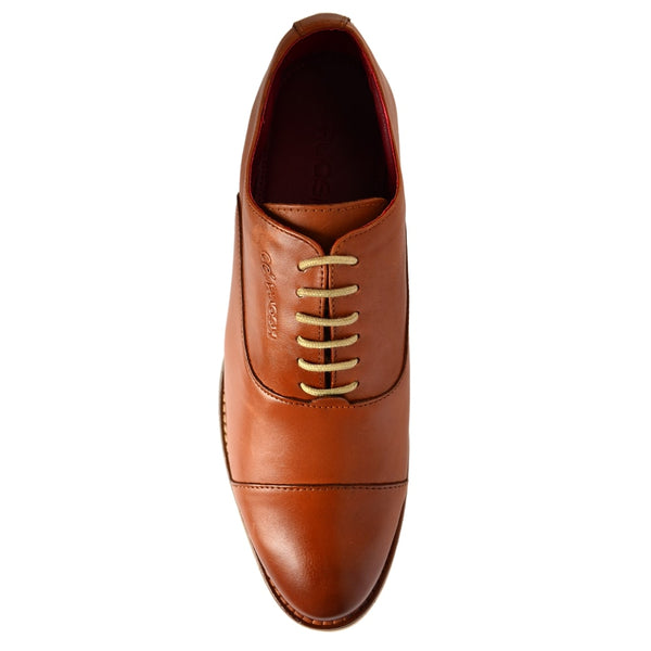 Tan Formal Leather Lace-Up Oxford Shoes