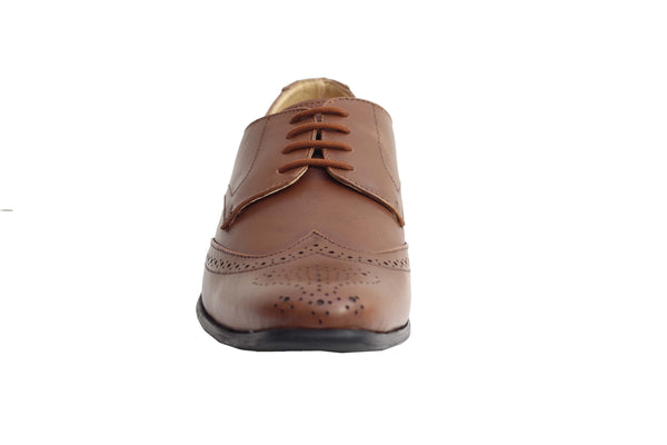 Tan Genuine Leather Derby Formal